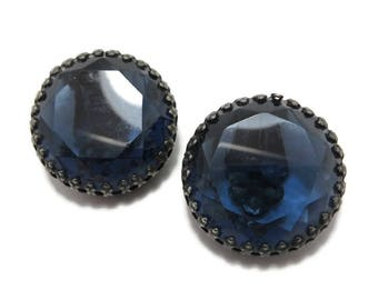 Weiss Glass Cabochon Earrings, Vintage Blue Glass Earrings Signed Weiss Clip-on Earrings Costume Jewelry Clip ons