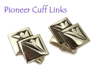 Pioneer Silver Tone Cuff Links, Vintage Double Square Cufflinks, Men's Suit Accessory, Gift for Him, FREE SHIPPING