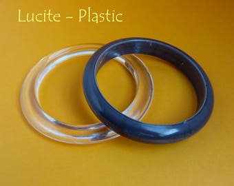 Lucite Bangle Pair, Vintage Clear Lucite and Gray Plastic Bracelet Duo, Gift for Her, Gift Box, FREE SHIPPING