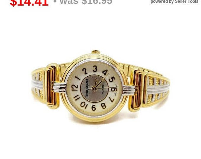 Times Square Watch, Vintage Two Tone Stretch Band Watch, Ladies Wristwatch