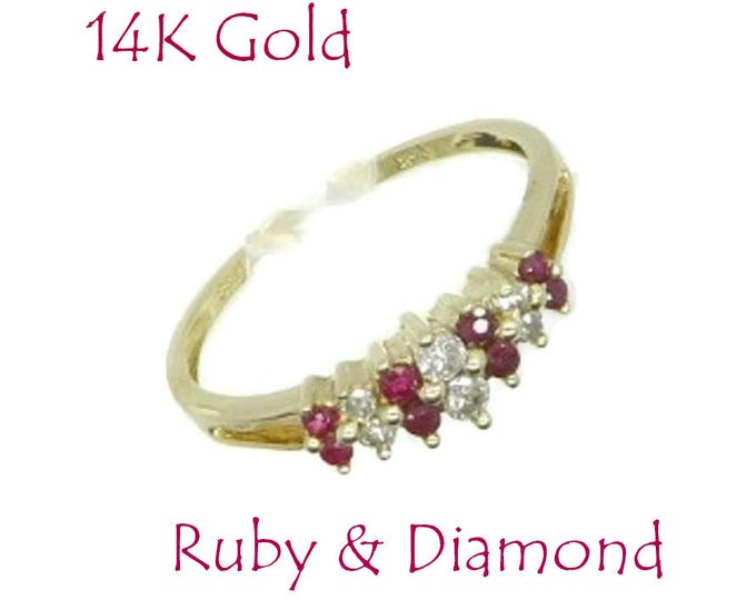 Ruby - 14K Gold Ruby Diamond Ring, Vintage Multistone Engagement Wedding Anniversary Ring Size 7