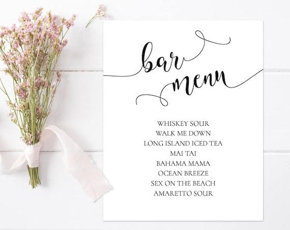 Bar Menu Wedding Sign INSTANT DOWNLOAD
