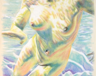 Original, one-off drawing of an underwater view of a naked woman swimming