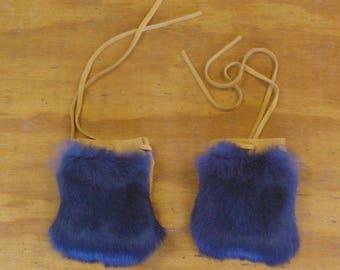 2 Blue Rabbit Fur & Gold Color Deer Leather Bags
