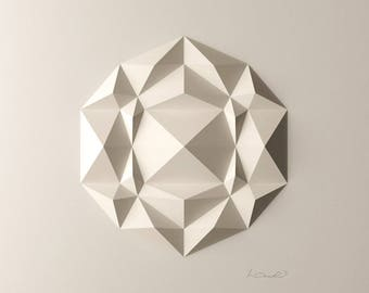 White Geometric Wall Decoration-Relief-Folded Paper Crystal Mosaic-Modern Geometric Abstract Sculpture-Created by Kubo Novak-DodecaF2