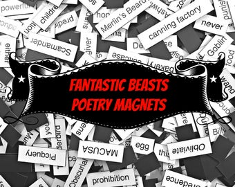 Fantastic Beasts Refrigerator Magnets, Poetry Word Magnets, Free Gift Wrap