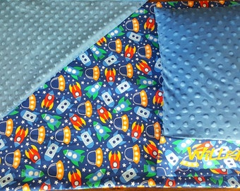 Space Ship Nap Mat Cover - Choose Your Minky Color - Kindermat - Back To School - Pillowcase - Blanket - Minky - Embroidery