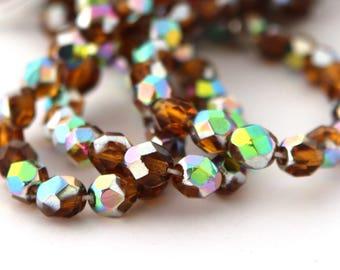 Dark Topaz Vitrail 6mm Facet Round Czech Glass Fire Polished Beads #1530