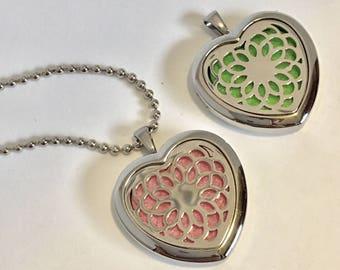Heart Diffuser Locket - Mandala - Essential Oil Necklace - Sacred Geometry