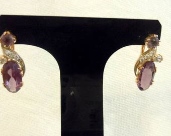 14k Russian mark Lab Created Synthetic Alexandrite French Back Dangle Earrings