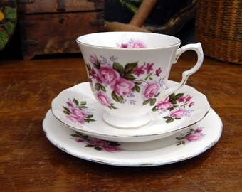 Vintage Queen Anne Floral Bone China Trio Tea Set