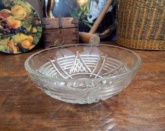 Vintage Clear Glass Bowl - Star Pattern