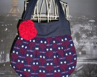 Saca handmade artisanal French ball U.S. navy red flower