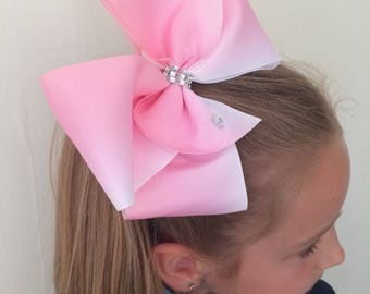 Large pale pink & white ombré hair bow dance moms