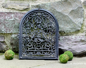 Cast Iron Architectural Salvage. Vintage. Black. Ornate Pattern. C. Industrial. Home Decor. Restoration. Arch. Rustic. Wood Stove Door.