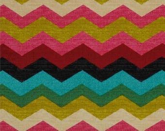 Waverly Panama Wave Desert Flower - Fabric by the yard - Zig zag - 676112 - Multi colored chevron print fabric