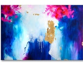 Original XXL art, large abstract painting, large abstract art, modern fine art, large acrylic art, oversized canvas painting, gold leaves