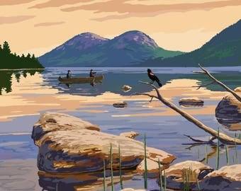 Acadia National Park, Maine - Celebrating 100 Years - Jordan Pond - Lantern Press Artwork (Art Print - Multiple Sizes Available)