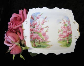 """Royal Albert """"Blossom Time"""" Small Rectangular Serving Bowl, Embossed and Scalloped, 1st Quality"""