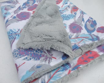 Feather Minky Baby Blanket - Purple, Gray, & Aqua - Ready to Ship