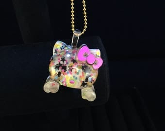 Resin Crafted Kitty Necklace, Adjustable Chain