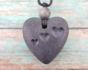Heart Necklace carved stone heart pendant natural stone jewelry surfer necklace minimalist jewelry beach necklace stone pendant carved rock
