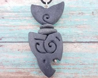 Hand carved mens shark necklace unique surfer fish pendant stone pendant tribal fish necklace primitive jewelry surfer jewelry rock art