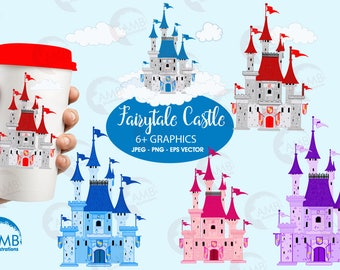 Castle clipart, Fairytale castle clipart, Princess clipart, Fairytale,commercial use, vector graphics, digital clip art,  AMB-992