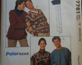 McCalls 7781, sizes S-L, mens, womens, teens, pullover top, UNCUT sewing pattern, craft supplies