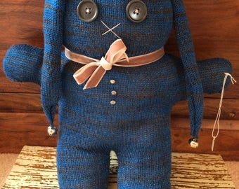 Large Blue/Grey knitted bunny