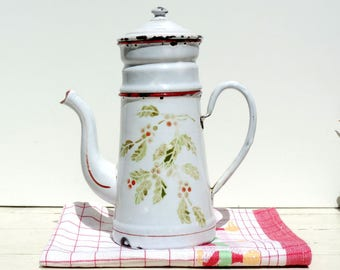 French Vintage Coffee Pot/ French Vintage Enamel Coffee Pot/Vintage Coffee Pot/French Enamelware/Hand Painted Enamel Coffee Pot/White Enamel