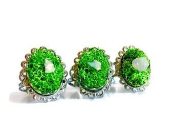 Opal Fairy Ring - Moss Grass Crystal Terrarium Garden Ring