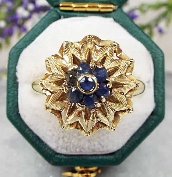 Vintage 14ct Yellow Gold Ornate Blue Sapphire Large Flower Statement Ring Size N 1/2