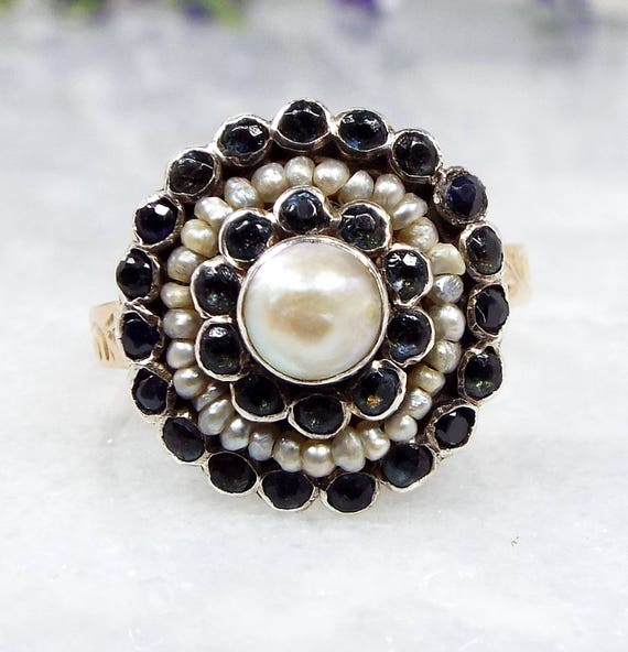Antique Georgian Sterling Silver 9ct Gold Pearl & Sapphire Cluster Ring / Size M 1/2