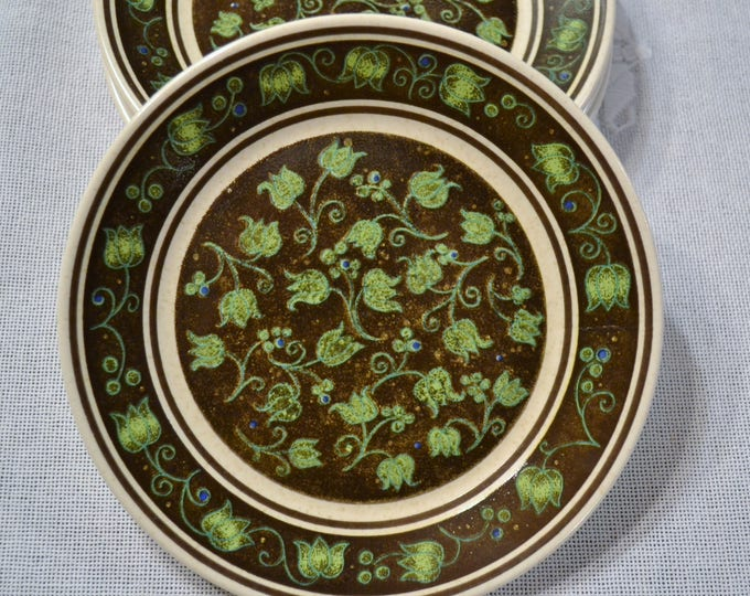 Vintage Lenox Spanish Swirl Bread Plate Set of 4 Temper Ware Black Green Floral Replacement  PanchosPorch
