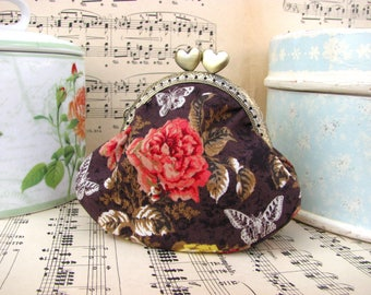 Coin purse clutch in chocolate with roses and butterflies, kiss lock purse