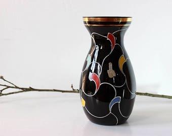 Black 50s vase, abstract design, vintage vase