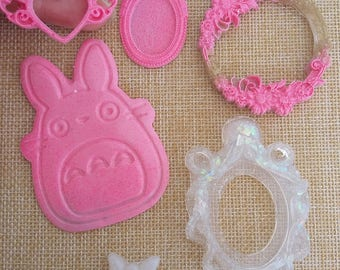 Resin supplies, cameo settings totoro cabochon