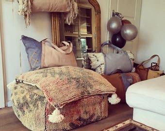 Large Moroccan Kilim Boujaad Pouf Big Floor Pillow Handmade Moroccan Poof  100% Wool Kilim 65x65x30