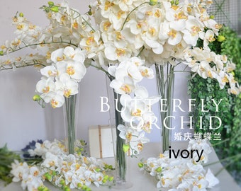 5 Stems Ivory Wedding Artificial Simulation Silk Orchids Wedding Customized Butterfly Orchid Phalaenopsis For Party Center Table Flower