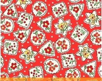 Storybook Christmas - Snowflakes and Flowers in Red - Floral Cotton Quilt Fabric - Whistler Studios - Windham Fabrics - 41748-3 (W4251)