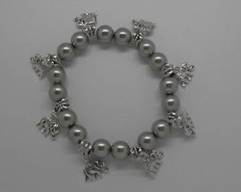 Elephant Lovers Silver Czech Glass Bead Charm Bracelet