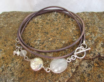 Moonstone and Pearl Leather Wrap Bracelet