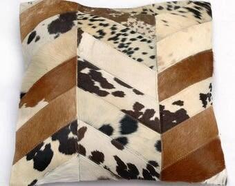 Natural Cowhide Luxurious Patchwork Hairon Cushion/pillow Cover (15''x 15'')a265