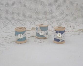 Vintage Wooden Spools of Thread-Set of Three - Shades of Pastel Blue