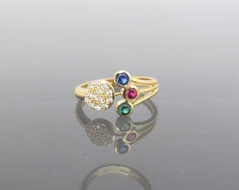 Vintage 18K Solid Yellow Gold Mixed Gemstone Ring Size 5