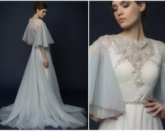 SININA / Sky blue wedding dress ball gown wedding dress made of 100% silk and tulle with hand embroidery / wedding gown with sheer back