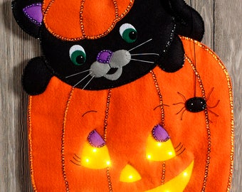 Peek-A-Boo Pumpkin ~ Bucilla Felt Halloween Wall Hanging Kit #86830 Cat, Lights