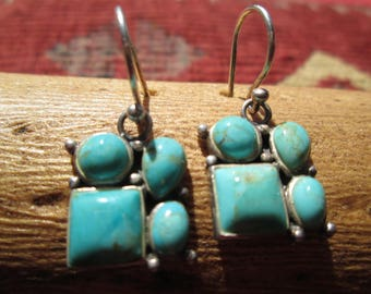 Turquoise and Sterling Dangle Earrings