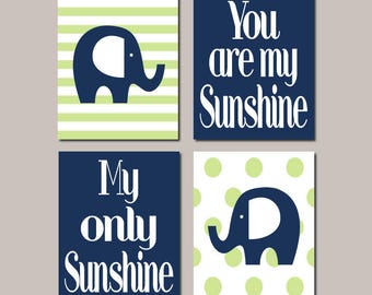 Elephant Nursery Decor Set of 4 Prints Or Canvas You Are My Sunshine Baby Boy Nursery Navy Nursery Wall Art Nursery Pictures